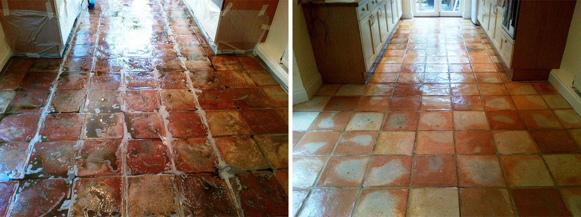 Terracotta Tiles Before and After Sealing