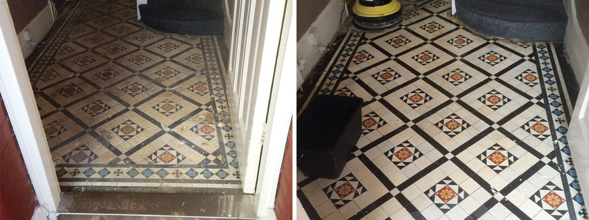 Very Dirty Victorian Tiled Hallway Cleaned and Sealed in Prestwood