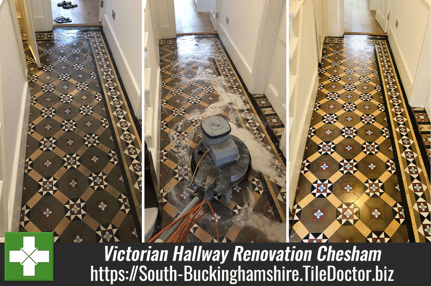 Victorian Tiled Hallway Floor Deep Cleaned and Sealed in Chesham
